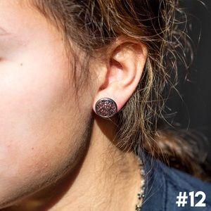 Dainty Druzy Round Earring